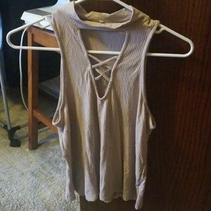 Charlotte Russe Cream Cross Top